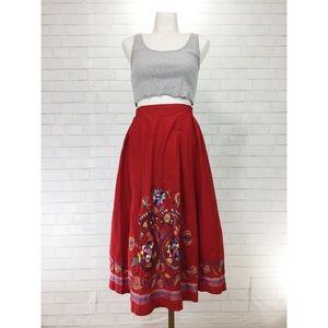 Vintage Full Embroidered Red Skirt Festival Boho